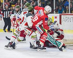 22.03.2019, Stadthalle, Klagenfurt, AUT, EBEL, EC KAC vs HCB Suedtirol Alperia, Viertelfinale, 5. Spiel, im Bild Stefano MARCHETTI (HCB Suedtirol Alperia, #23), Mich WAHL (EC KAC, #79), Jacob SMITH (HCB Suedtirol Alperia, #1), Paul GEIGER (HCB Suedtirol Alperia, #3) // during the Erste Bank Icehockey 5th quarterfinal match between EC KAC and HCB Suedtirol Alperia at the Stadthalle in Klagenfurt, Austria on 2019/03/22. EXPA Pictures © 2019, PhotoCredit: EXPA/ Gert Steinthaler