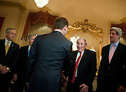 June 24, 2010 - Washington, District of Columbia, U.S., - Senator Carl Levin greets Russian president Dmitry Medvedev during a meeing with the Senate Leadership at the U.S. Capitol on Thursday. (Credit Image: © Pete Marovich/ZUMA Press)