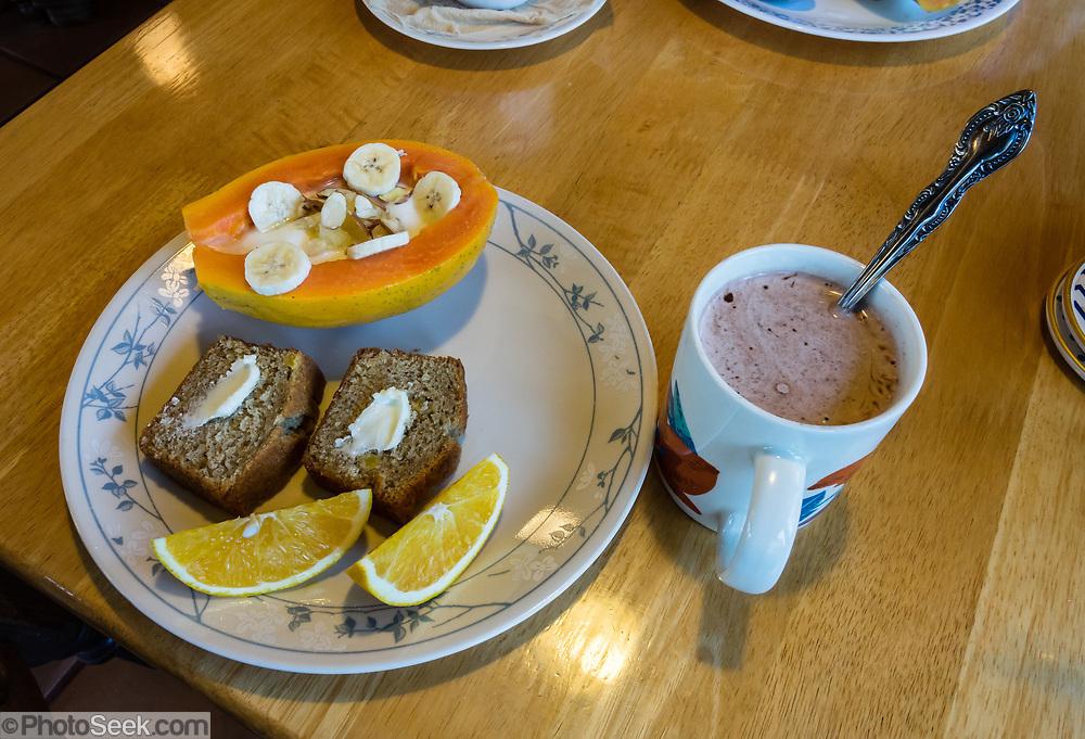 Eat healthy papaya boats and banana bread for breakfast at Volcano Inn, on the Big Island, Hawaii, USA. Address: 19-3820 Old Volcano Rd, Volcano, HI 96785