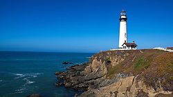 Pigeon Point Lighthouse on top of cliffs above the Pacific Ocean, Pescadero, California, United States of America