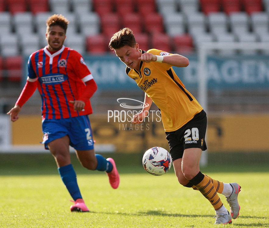 Newport County player Tom Owen-Evans gets control in midfield during the Sky Bet League 2 match between Dagenham and Redbridge and Newport County at the London Borough of Barking and Dagenham Stadium, London, England on 19 September 2015. Photo by Bennett Dean.