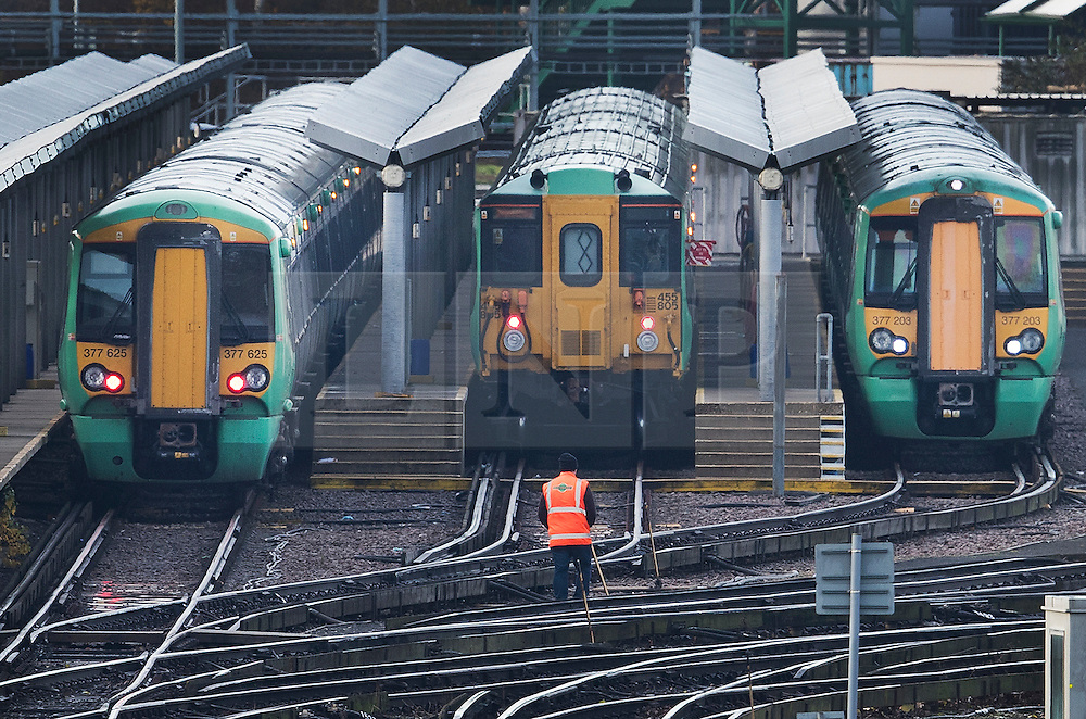 © Licensed to London News Pictures. 14/12/2016. London, UK. Southern Rail trains are laid up at Selhurst rail depot. Hundreds of thousands of rail passengers face a second day of a 3 day rail strike in an escalating dispute over the role of conductors and drivers. Photo credit: Peter Macdiarmid/LNP
