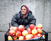 Kiev, Ukraine <br /> people and places, churches and street art around Kiev city centre which hosts the Eurovision Song Contest on 13th May 2017 at the International Exhibition Centre in Kiev, Ukraine<br /> Lady selling apples outside the Universytet Metro station <br /> Kiev in Ukraine <br /> <br /> Photograph by Elliott Franks <br /> Image licensed to Elliott Franks Photography Services