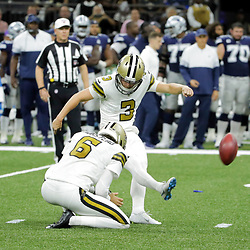 Sep 29, 2019; New Orleans, LA, USA; New Orleans Saints kicker Wil Lutz (3) kicks a field goal against the Dallas Cowboys during the second quarter at the Mercedes-Benz Superdome. Mandatory Credit: Derick E. Hingle-USA TODAY Sports