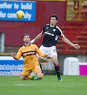 Dundee&rsquo;s Julen Etxabeguren and Motherwell&rsquo;s Scott McDonald - Motherwell v Dundee in the Ladbrokes Scottish Premiership at Fir Park, Motherwell.Photo: David Young<br /> <br />  - &copy; David Young - www.davidyoungphoto.co.uk - email: davidyoungphoto@gmail.com