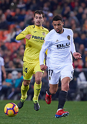 January 26, 2019 - Valencia, U.S. - VALENCIA, SPAIN - JANUARY 26: Francis Coquelin, midfielder of Valencia CF competes for the ball with Manu Trigueros, midfielder of Villarreal CF during the La Liga match between Valencia CF and Villarreal CF at Mestalla stadium on January 26, 2019 in Valencia, Spain. (Photo by Carlos Sanchez Martinez/Icon Sportswire) (Credit Image: © Carlos Sanchez Martinez/Icon SMI via ZUMA Press)