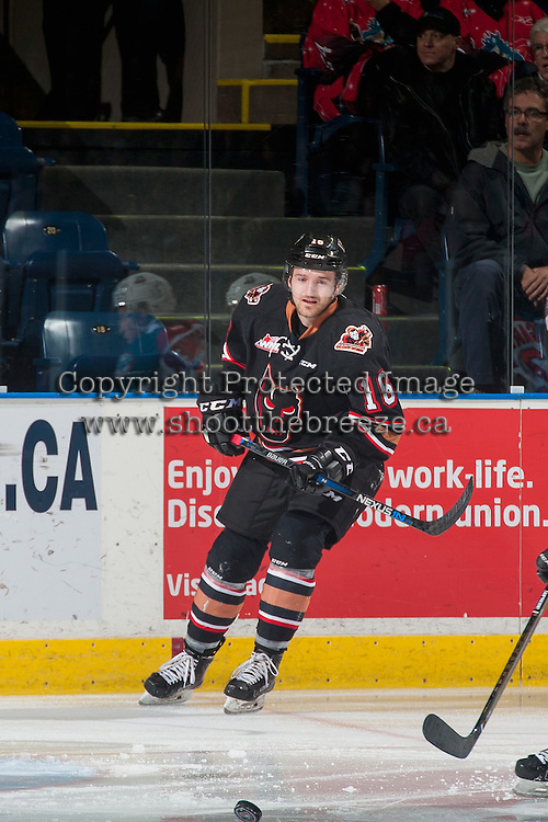 KELOWNA, CANADA - FEBRUARY 1: Jake Kryski #16 of the Calgary Hitmen skates against the Kelowna Rockets for the first time since he was traded by the Rockets to Calgary on February 1, 2017 at Prospera Place in Kelowna, British Columbia, Canada.  (Photo by Marissa Baecker/Shoot the Breeze)  *** Local Caption ***