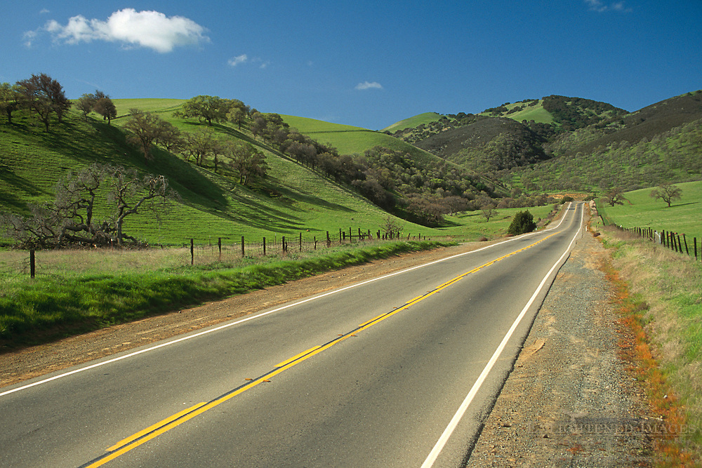 Vasco Road in spring, between Livermore and Brentwood, Contra Costa County, CALIFORNIA
