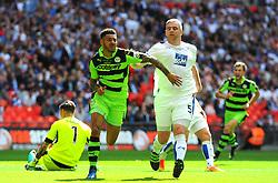 Kaiyne Woolery of Forest Green Rovers celebrates his  second goal  - Mandatory by-line: Nizaam Jones/JMP - 14/05/2017 - FOOTBALL - Wembley Stadium- London, England - Forest Green Rovers v Tranmere Rovers - Vanarama National League Final