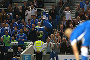 Kazenga Lualua celebrates his goal during the Sky Bet Championship match between Brighton and Hove Albion and Nottingham Forest at the American Express Community Stadium, Brighton and Hove, England on 7 August 2015. Photo by Bennett Dean.