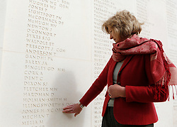 "© Licensed to London News Pictures. 02/04/2012. Sara Jones, the widow of Lieutenant Colonel 'H"" Jones who was killed in the Battle of Goose Green visits the Armed Forces Memorial in Alrewas, Staffordshire on the 30th anniversary of the Falklands Conflict. Col Jones is a posthumous recipient of the Victoria Cross...Along with the service those present were invited to view the ongoing work on a new memorial, initiated by the South Atlantic Medal Association (SAMA 82), to remember the 255 UK servicemen who were killed during the Falklands war. The memorial is set to be dedicated on the 20 May 2012 in the presence of over 600 veterans. Photo credit: Alison Baskerville/LNP"