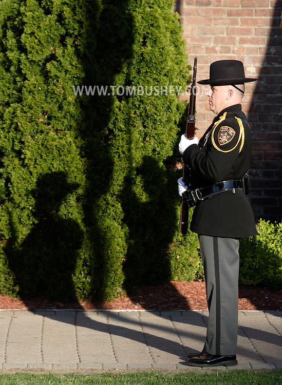 Middletown, N.Y.  - The Orange County Sherrif's Office color guard stands at attention during a  crime victims ceremony at Festival Square on April 29, 2009.