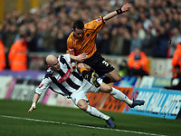 Photo: Rich Eaton.<br /> <br /> Wolverhampton Wanderers v West Bromwich Albion. Coca Cola Championship. 11/03/2007. Richard Chaplow left of West Brom tackles Wolves player Michael McIndoe
