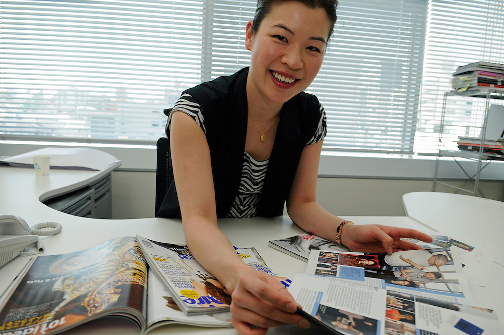 at Marie Claire Japan office.Ning Chao sitting at the desk of the editor in chief of the magazine