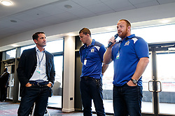Ben Breeze hosts a Pre Match Q&A in the Heineken Lounge with Bristol Rugby Players Ross McMillan and Ian Evans - Mandatory byline: Rogan Thomson/JMP - 07966 386802 - 06/09/2015 - RUGBY UNION - Ashton Gate Stadium - Bristol, England - Bristol Rugby v Bedford Blues - Greene King IPA Championship.