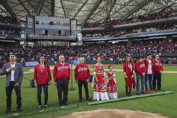 March 23, 2019 - Mexico City, Mexico - Mexican President Andres Manuel Lopez Obrador, 3rd right, during the opening ceremony at the Alfredo Harp Helu Baseball Stadium, home of the Mexico City Red Devils March 23, 2019 in Mexico City, Mexico. Obrador who has enjoyed soaring approval ratings was booed and jeered by the hostile crowd in a rare display of public animosity for the popular president. (Credit Image: © Press Office Amlo via ZUMA Wire)