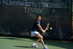 Virginia's Amanda Rales during the #1 doubles match.  The #12 ranked Miami Hurricanes defeated the #50 ranked Virginia Cavaliers in women's tennis 6-1 at the University of Virginia's Snyder Tennis Center in Charlottesville, VA on March 22, 2008.