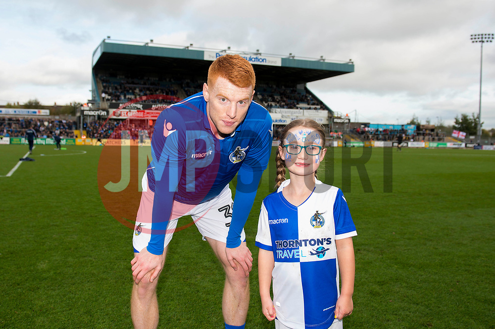 Rory Gaffney of Bristol Rovers with mascot - Mandatory by-line: Dougie Allward/JMP - 28/10/2017 - FOOTBALL - Memorial Stadium - Bristol, England - Bristol Rovers v Milton Keynes Dons - Sky Bet League One