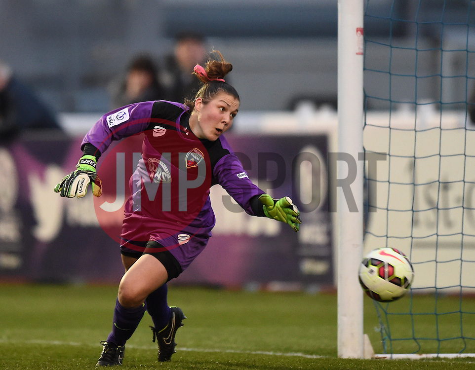 A Chelsea ball defeats Bristol Academy's Mary Earps - Photo mandatory by-line: Paul Knight/JMP - Mobile: 07966 386802 - 02/04/2015 - SPORT - Football - Bristol - Stoke Gifford Stadium - Bristol Academy Women v Chelsea Ladies - FA Women's Super League