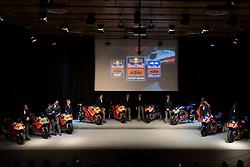 12.02.2019, Munderfing, AUT, MotoGP, Teampräsentation KTM Factory Racing, im Bild v.l Can Öncü (TUR) KTM Moto3, Jorge Martin (ESP) Moto2, Brad Binder (RSA) Moto2, Pol Espargaro (SPA) Moto GP, Johann Zarco (FRA) Moto GP, Hafizh Syahrin (MYS) Moto GP, Miguel Oliveira (POR) Moto GP, Marco Bezzecchi (ITA) Tech3-KTM, Philipp Öttl (GER) Tech3-KTM // during the presentation of KTM factory racing for the upcoming Season in Munderfing, Austria on 2019/02/12. EXPA Pictures © 2019, PhotoCredit: EXPA/ Reinhard Eisenbauer