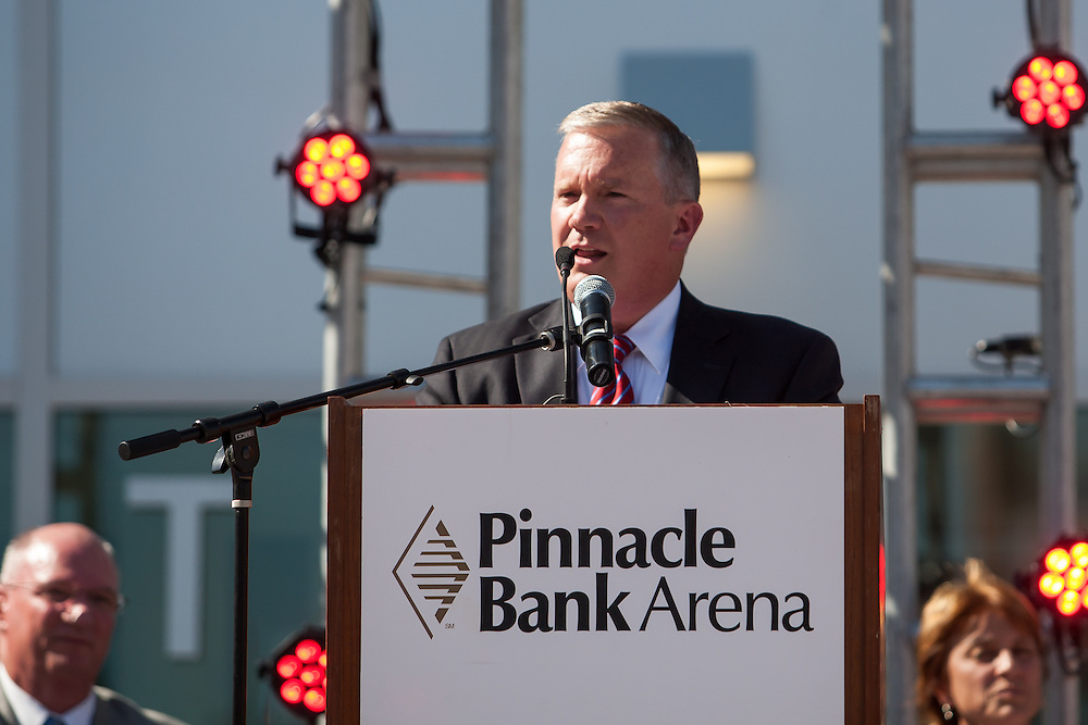 August 29, 2013: Regent Tim Clare speaks at the Grand Opening for the Pinnacle Bank Arena in Lincoln, Nebraska.