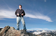 Cancer survivor and Mount Everest summitteer Sean Swarner takes time out for a portrait on Flagstaff Mountain, February 5, 2007. <br /> <br /> (Daily Times-Call, Bradley Wakoff)