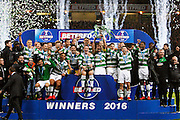 Celtic celebrate winning the Betfred Scottish Cup  Final match between Aberdeen and Celtic at Hampden Park, Glasgow, United Kingdom on 27 November 2016. Photo by Craig Galloway.