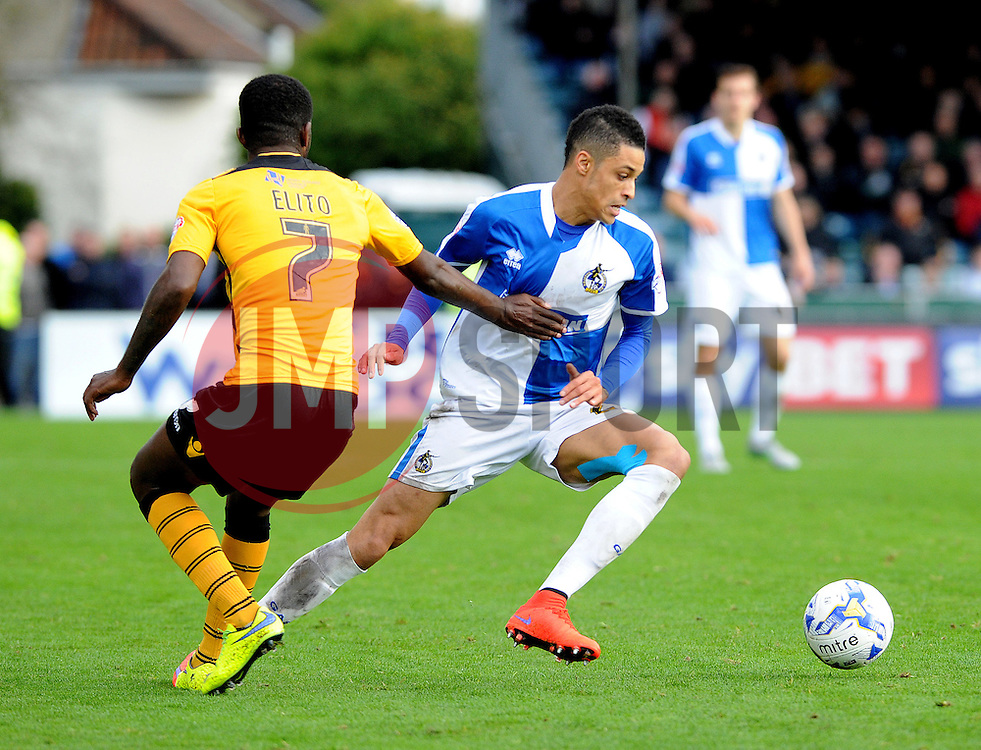 Daniel Leadbitter of Bristol Rovers cuts inside Medy Elito of Newport County - Mandatory byline: Neil Brookman/JMP - 07966 386802 - 24/10/2015 - FOOTBALL - Memorial Stadium - Bristol, England - Bristol Rovers v Newport County AFC - Sky Bet League Two