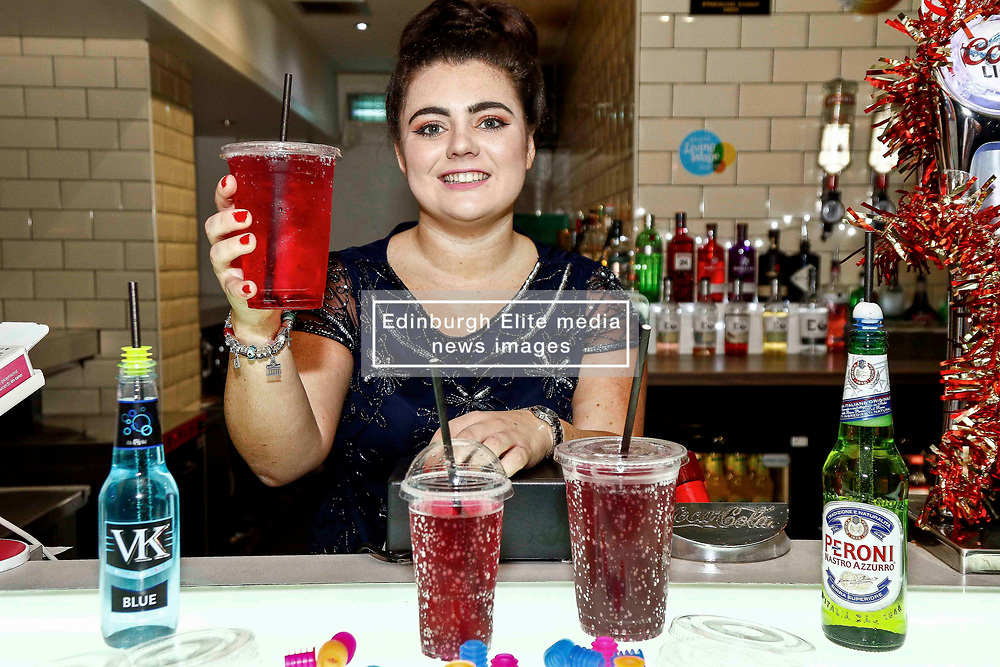 Pictured: Cara Teven, Behind the bar at The Yard within Strathclyde Student Union to Launch the Girls Against Spiking Campaign<br /> <br /> Colin Poultney   EEm Thursday 6th December 2018