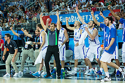 Players of Greece react during basketball match between Greece and Croatia at Day 2 in Group C of FIBA Europe Eurobasket 2015, on September 6, 2015, in Arena Zagreb, Croatia. Photo by Vid Ponikvar / Sportida