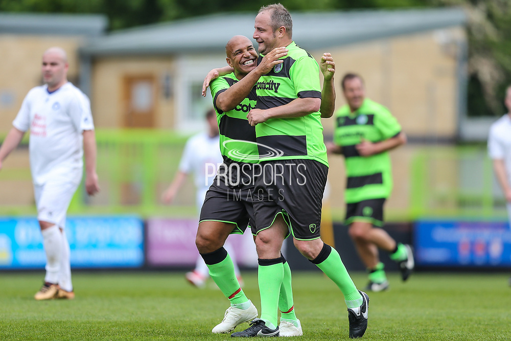 Forest Green Legends Marc McGregor and Forest Green Legends Danny Bailey during the Trevor Horsley Memorial Match held at the New Lawn, Forest Green, United Kingdom on 19 May 2019.