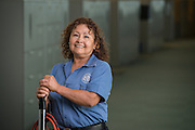 Houston ISD custodian Mercedes Garcia poses for a photograph, July 24, 2014.