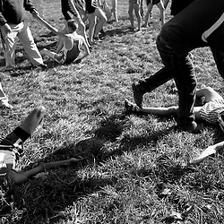 Kyle Green   The Roanoke Times<br /> 11/12/2011 Norview High School runner Marquis Worsley (left, 666) and Albemarle High School runner Ryan Thomas (right, 21) lay exhausted on the ground at the conclusion of the boys AAA division at the 2011 VHSL State Cross Country Championship in The Plains, Virginia on Saturday.