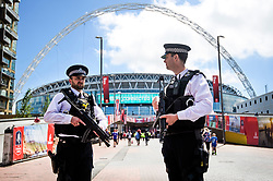 © Licensed to London News Pictures. 27/05/2017. London, UK. Armed police at Wembley stadium ahead of the FA Cup final match between Arsenal FC and Chelsea FC. Security has been increased at venues across the UK, with the military called in to help police, following a terrorist attack at a music concert in Manchester on Monday evening. Photo credit: Ben Cawthra/LNP
