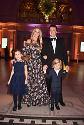 Mr Charlie & Lady Jubie Wigan with their children Aliena and Caius at The Sugarplum Dinner 2017 to benefit the type 1 diabetes charity JDRF held at the Victoria & Albert Museum, Cromwell Road, London England. 14 November 2017.
