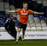 Mark Cullen of Luton Town celebrates his team's opening goal against Bury during the The FA Cup match at Kenilworth Road, Luton<br /> Picture by David Horn/Focus Images Ltd +44 7545 970036<br /> 16/12/2014
