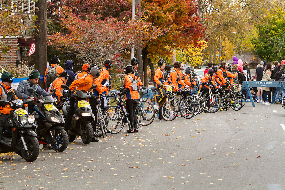 ING New York City Marathon: course monitors on bicycles prepare to join race