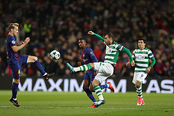 December 5, 2017 - Barcelona, Catalonia, Spain - BRUNO CESAR of Sporting CP duels for the ball with IVAN RAKITIC of FC Barcelona during the UEFA Champions League, Group D football match between FC Barcelona and Sporting CP on December 5, 2017 at Camp Nou stadium in Barcelona, Spain. (Credit Image: © Manuel Blondeau via ZUMA Wire)