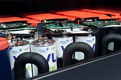 Detail of interior of Lithium Ion car batteries for Ford electric cars at Paris Motor Show 2010