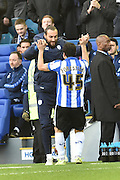 Fernando Forestieri of Sheffield Wednesday celebrates his goal to make it 2-1 up  during the Sky Bet Championship match between Sheffield Wednesday and Wolverhampton Wanderers at Hillsborough, Sheffield, England on 20 December 2015. Photo by Ian Lyall.
