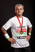 Sadiq Khan MP for Tooting. Portraits of celebrities shortly after they have crossed the line to finish the Virgin Money London Marathon 2014 at the finish line on Sunday 13 April 2014<br /> Photo: Dillon Bryden/Virgin Money London Marathon<br /> media@london-marathon.co.uk