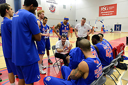Bristol Flyers coach, Andreas Kapoulas speaks during a time out - Mandatory byline: Dougie Allward/JMP - 11/12/2015 - Basketball - SGS Wise Campus - Bristol, England - Bristol Flyers v Plymouth Raiders - British Basketball League