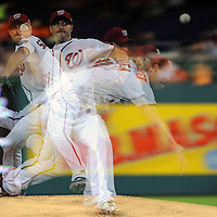 23 September 2015:  Washington Nationals starting pitcher Max Scherzer (31) pitches in an in camera multiple exposure against the Baltimore Orioles at Nationals Park in Washington, D.C. where the Baltimore Orioles defeated the Washington Nationals, 4-3.  (Photograph by Mark Goldman - Goldminephotos)