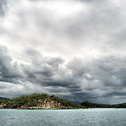 Rain clouds build over St John in the US Virgin Islands.