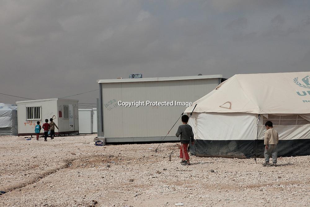 Young Syrian refugees wondering arround in Zaatari Refugee Camp located in Mafraq, Jordan