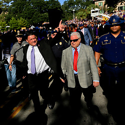 Sep 11, 2016; New Orleans, LA, USA;  LSU Tigers interim head coach Ed Orgeron with defensive line coach Pete Jenkins walk down Victory Hill with the team before a game against the Missouri Tigers at the Mercedes-Benz Superdome. Mandatory Credit: Derick E. Hingle-USA TODAY Sports