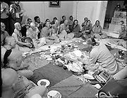Hare Krishna Initiation, Dublin.02.05.1982..05.02.1982.2nd May 1982.1982.At the Hare Krishna Temple,Castlefield House,Knocklyon Rd,Templeogue,Dublin,new members are initiated into the Hare Krishna movement. The initiation was conducted by Guru His Divine Grace, Srila Satswarupa Das Goswami..The group chant prayers to welcome the new members to the movement as Guru His Divine Grace Srila Das Goswami prepares an offering.