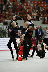 July 28, 2018 - Chieti, Abruzzo, Italy - Rhythmic gymnastics team of Ukraine performs its 3 ball 2 ropes routine during the Rhythmic Gymnastics pre World Championship Italy-Ukraine-Germany at Palatricalle on 29th of July 2018 in Chieti Italy. (Credit Image: © Franco Romano/NurPhoto via ZUMA Press)