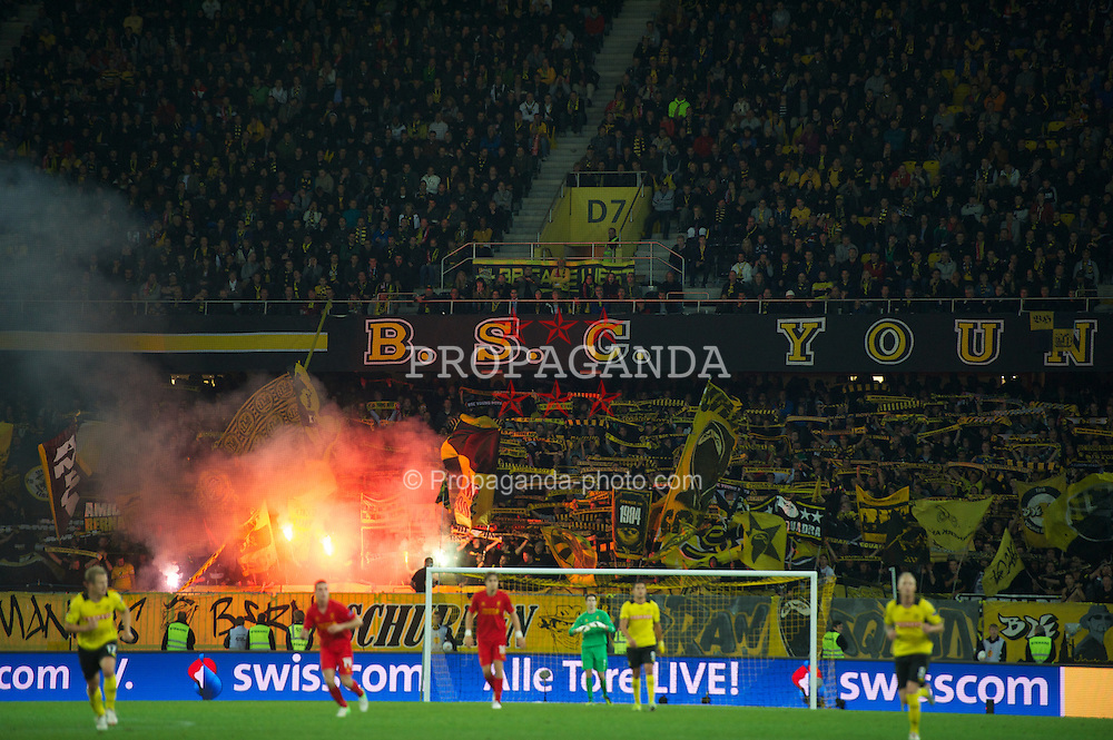 BERNE, SWITZERLAND - Thursday, September 20, 2012: BSC Young Boys supporters set off flares during the UEFA Europa League Group A match against Liverpool at the Wankdorf Stadion. (Pic by David Rawcliffe/Propaganda)