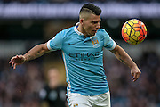 Sergio Agüero (Manchester City) during the Barclays Premier League match between Manchester City and Tottenham Hotspur at the Etihad Stadium, Manchester, England on 14 February 2016. Photo by Mark P Doherty.